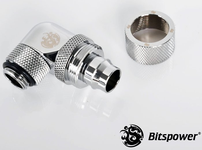 "3/8""ID - 1/2""OD Rotary 90 Deg. Angled Compression Fitting Silver"