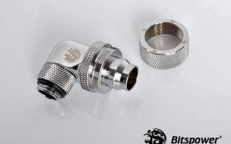 "1/2""ID - 3/4""OD Rotary 90 Deg. Angled Compression Fitting Silver"