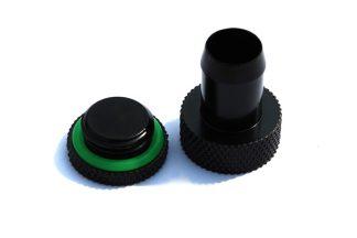 """Fill/Drain Port Sealing Plug w/ 3/8""""ID Tubing Barb - Matt Black"""