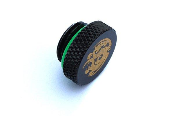 """Stop Plug Fitting - G1/4"""" Matt Black w/UV Green O-ring"""