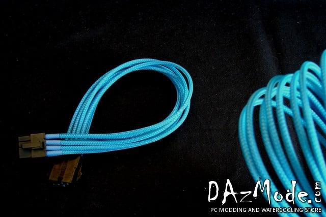 "8-Pin PCI-E 12"" (30cm) DarkSide Single Braid Cable - Aquamarine UV"
