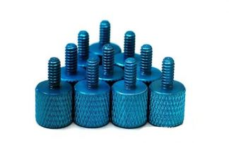 10pcs Blue Anodized Aluminum Thumb Screw Pack