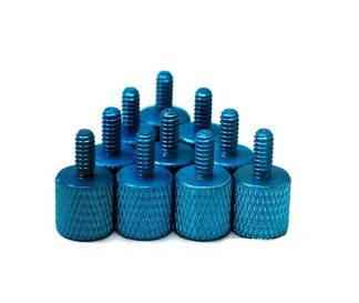 10pcs Blue Anodized Aluminum Thumb Screw Pack