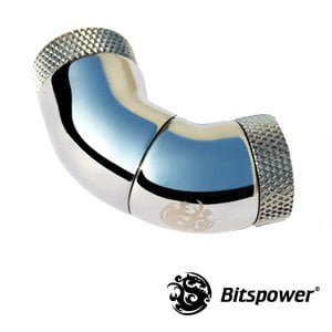 "Dual IG1/4"" 90 (45x2) Degree Rotary Adapter  - Silver Shining"