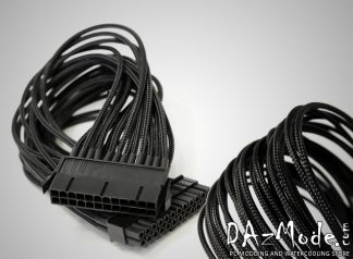 "24-Pin ATX  12"" (30cm) DarkSide Single Braid Cable - Jet Black"