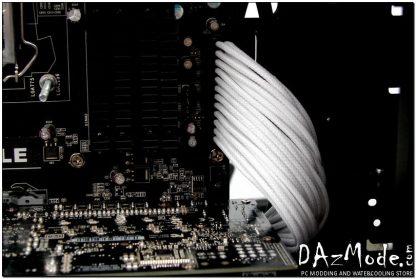 "24-Pin ATX HSL 12"" (30cm) DarkSide Single Braid Cable - White-3"