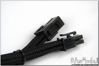 "6-Pin PCI-E 12"" (30cm) DarkSide HSL Single Braid Cable - Jet Black-2"
