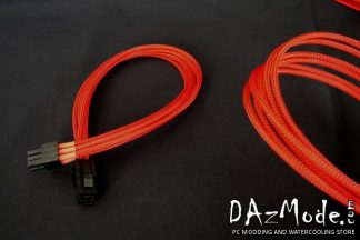 "6-Pin PCI-E XL 19"" (50cm) DarkSide Single Braid Cable - Red UV"