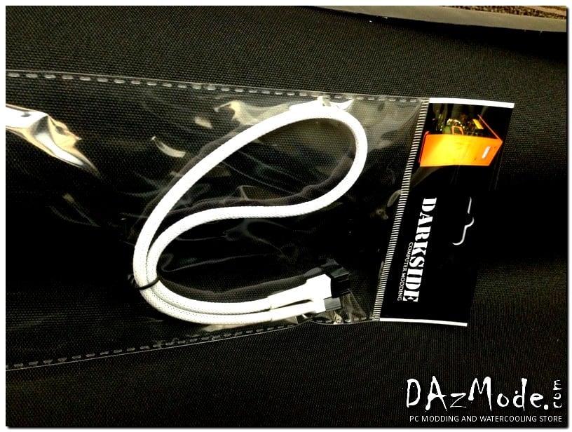 3-Pin 40cm Fan DarkSide Single Braid Cable - White
