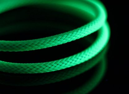 """5/64"""" ( 2mm ) DarkSide HD Cable Single Wire Sleeving - Green UV 1Ft-2"""
