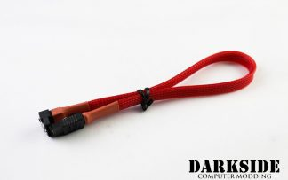 """30cm (12"""") SATA 2.0/3.0 Sleeved 7-pin 180° to 90° Data Cable - Red UV"""