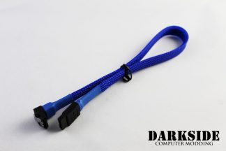 """30cm (12"""") SATA 2.0/3.0 Sleeved 7-pin 180° to 90° Data Cable - Blue UV"""
