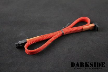 """45cm (18"""") SATA 2.0/3.0 Sleeved 7-pin 180° to 90° Data Cable - Red UV-2"""