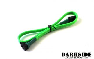 """45cm (18"""") SATA 2.0/3.0 Sleeved 7-pin 180° to 90° Data Cable - Green UV"""