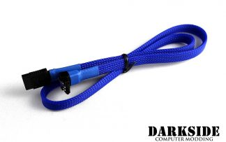 """60cm (24"""") SATA 2.0/3.0 Sleeved 7-pin 180° to 90° Data Cable - Blue UV"""