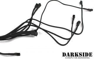 3-pin QUAD PUSH-PULL Radiator Fan Power Y-cable Splitter (8x fans) - Jet Black