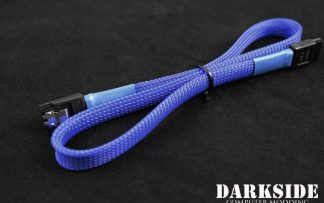 """45cm (18"""") SATA 2.0/3.0 7P 180° to 180° cable with latch  - Dark Blue UV"""
