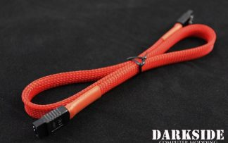"45cm (18"") SATA 2.0/3.0 7P 180° to 180° cable with latch  - Red UV"
