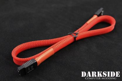 """45cm (18"""") SATA 2.0/3.0 7P 180° to 180° cable with latch  - Red UV"""