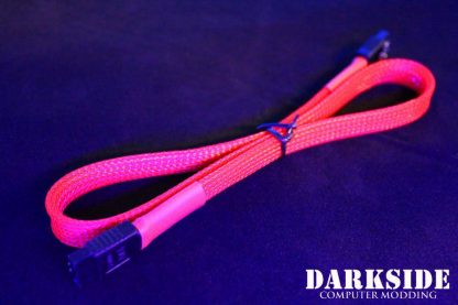 """45cm (18"""") SATA 2.0/3.0 7P 180° to 180° cable with latch  - Red UV-2"""