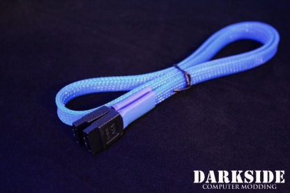 """60cm (24"""") SATA 2.0/3.0 7P 180° to 180° cable with latch  - Dark Blue UV-2"""