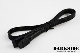 """60cm (24"""") SATA 2.0/3.0 7P 180° to 180° cable with latch  - Jet Black"""