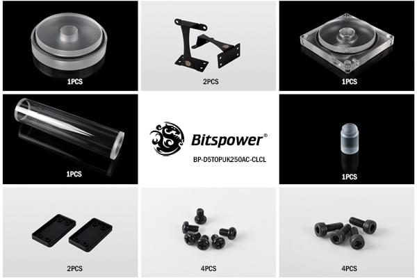 Bitspower Dual / Single D5 Top Upgrade Kit 250 (Clear Acrylic Cap)