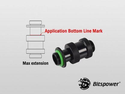 """Black Dual G1/4"""" Adjustable Aqua Link Pipe I (22-31mm) - Matt Black-2"""
