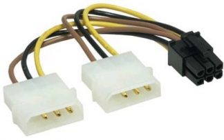 Dual 4-Pin Molex to 6-Pin PCI-E Adapter Cable