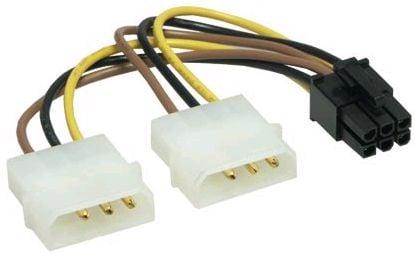 Dual 4-Pin Molex to 6-Pin PCI-E Adapter Cable