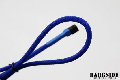 "3-Pin 40cm (16"") M/F Fan Sleeved Cable - Dark Blue UV"