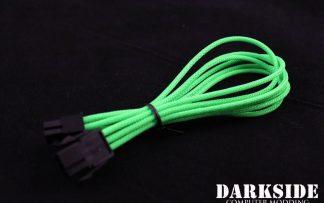 """6-Pin PCI-E HSL 12"""" (30cm) DarkSide Single Braid Cable - Green UV"""