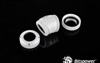 G1/4 Enhanced Dual 30-Degree Multi-Link Adapter - 12mm OD Rigid Tube - Deluxe White
