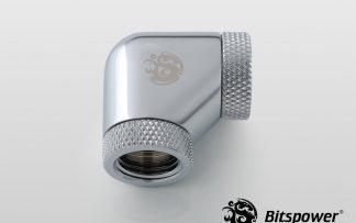 """90-Degree With Dual Rotary INNER G1/4"""" Extender - Silver Shining"""