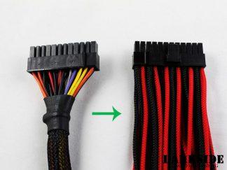 12' (30cm) Female-Female Pre-Sleeved ATX and  PCI-E Wire - Aqua Blue UV