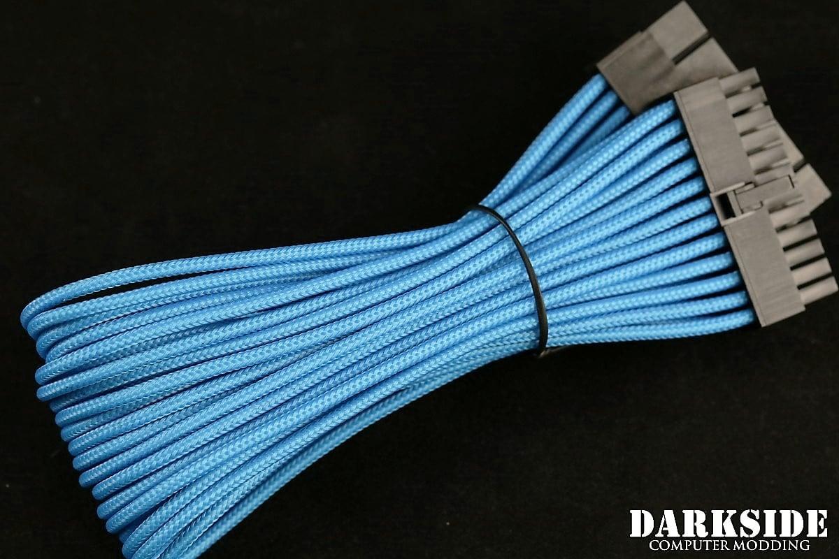 """24-Pin ATX HSL 12"""" (30cm) DarkSide HSL Single Braid MF Cable - Aqua Blue (UV)"""