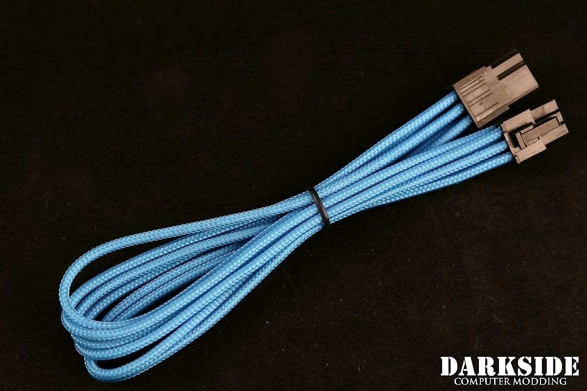 6-Pin PCI-E DarkSide HSL Single Braid MF Cable - Aqua Blue (UV)