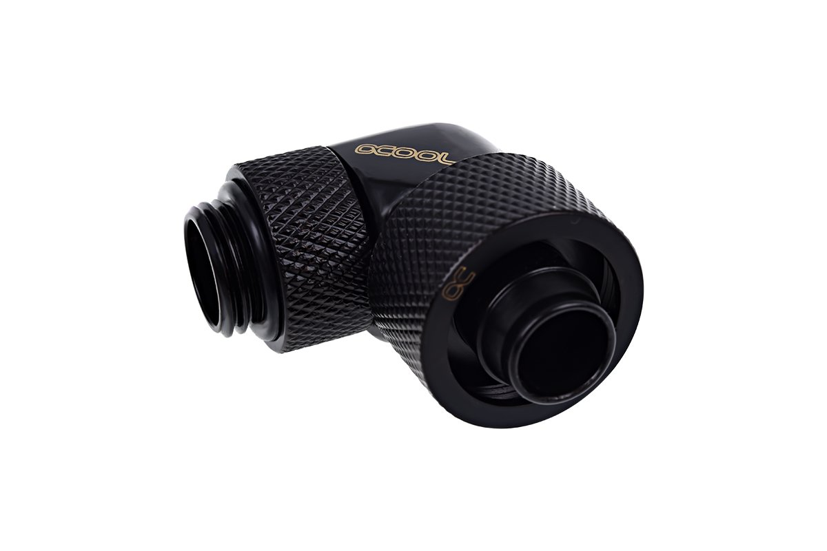 Eiszapfen 16/10mm compression fitting 90° rotatable G1/4 - deep black