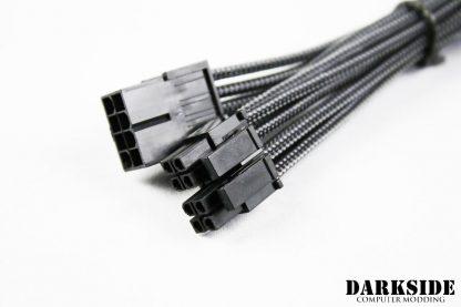 "4+4 EPS 12"" (30cm) HSL DarkSide Single Braid M-F Cable - Graphite Metallic-2"