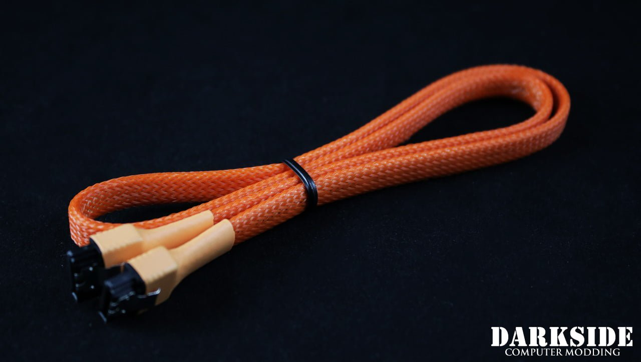 "60cm (24"") SATA 2.0/3.0 7P 180° to 180° cable with latch  - Orange"