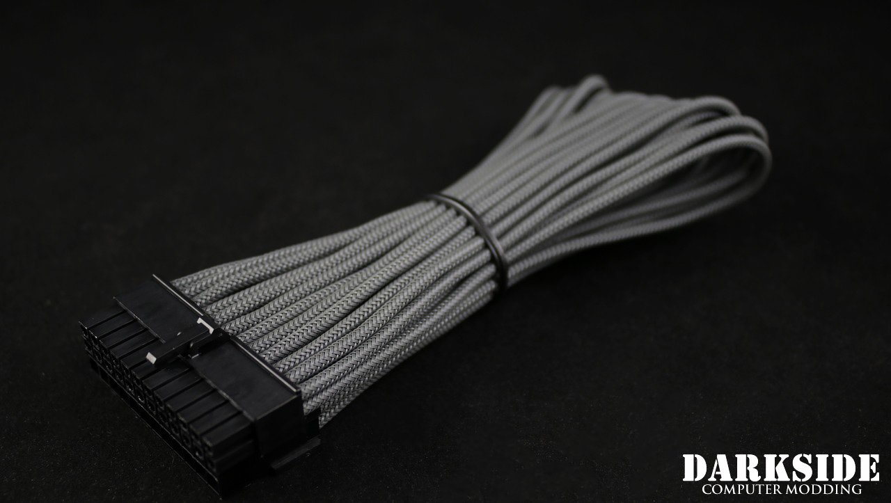 "24-Pin ATX HSL 12"" (30cm) DarkSide HSL Single Braid MF Cable - Gun Metal"
