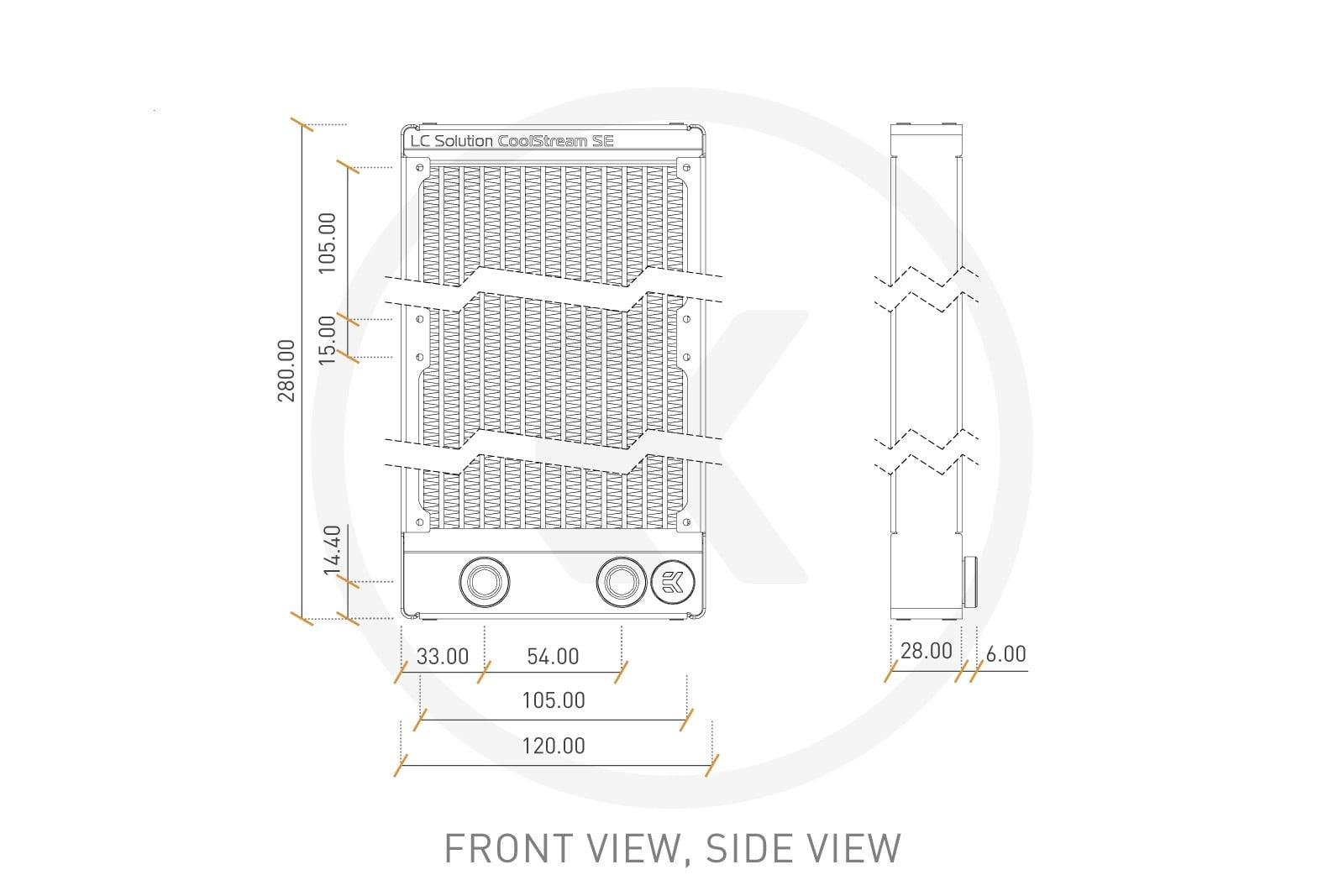 EK Water Blocks 3831109860465 Slim Dual Radiator EK-CoolStream SE 240