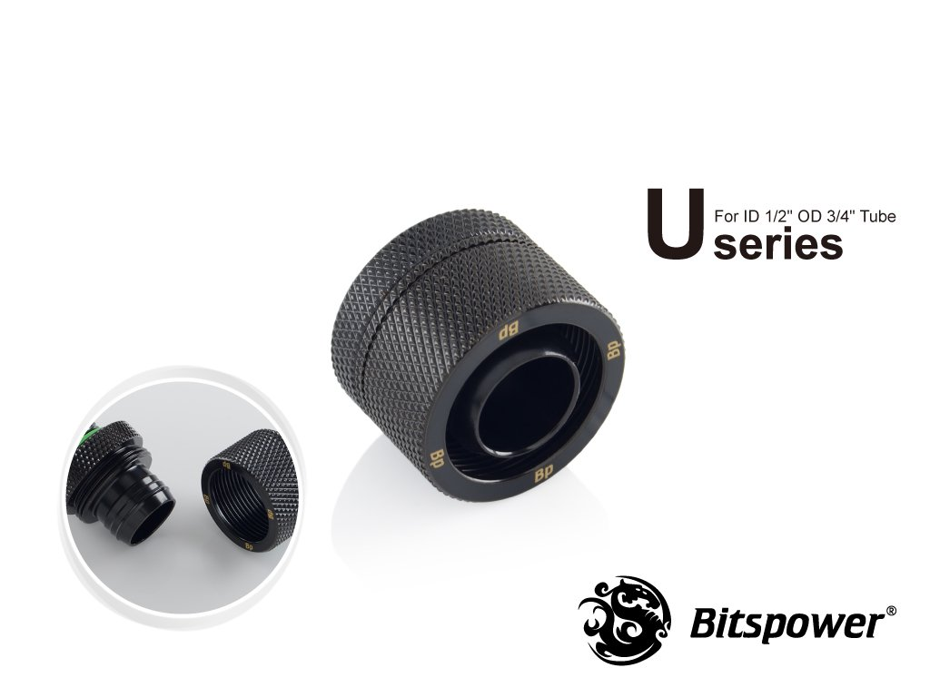 "Bitspower G1/4″ Matt Black Compression Fitting CC5 Ultimate For ID 1/2"" OD 3/4"" Tube"